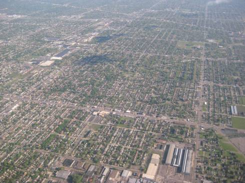 Detroit from Airplane
